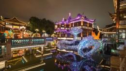 """大型光影艺术装置""""鱼旎如意""""点亮豫园灯会的夜"""