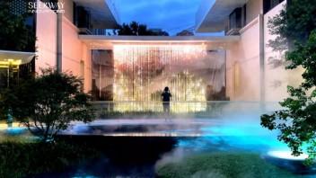 藏在繁华城市中的灯光瀑布