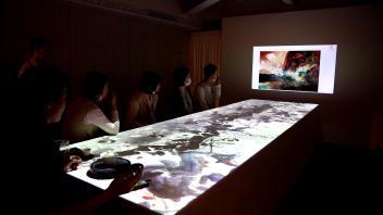 「上下」朱德群作品展   艺术水墨画投影互动   物体追踪识别